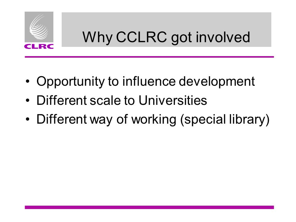 Why CCLRC got involved Opportunity to influence development Different scale to Universities Different way of working (special library)