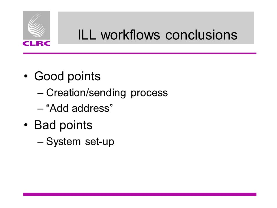 ILL workflows conclusions Good points –Creation/sending process –Add address Bad points –System set-up