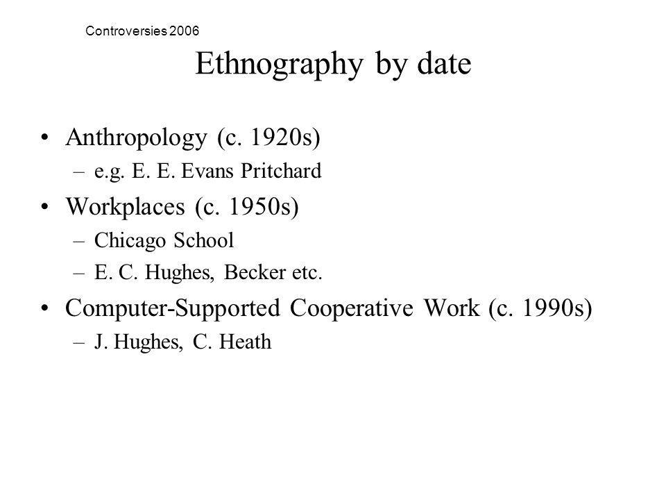 Controversies 2006 Ethnography by date Anthropology (c.