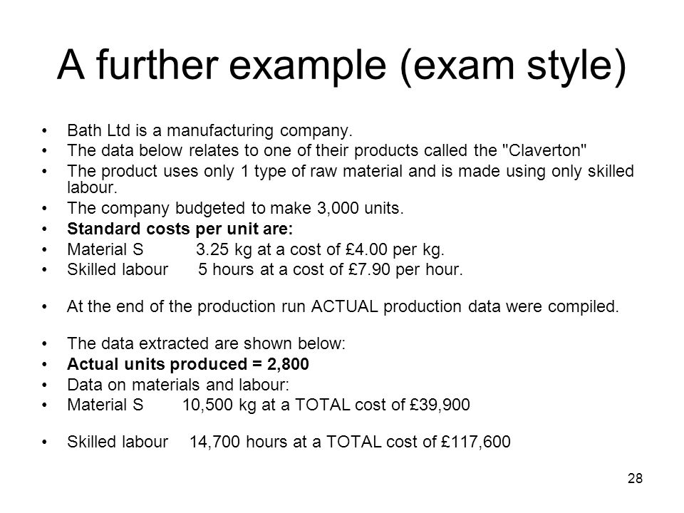 28 A further example (exam style) Bath Ltd is a manufacturing company. The data below relates to one of their products called the