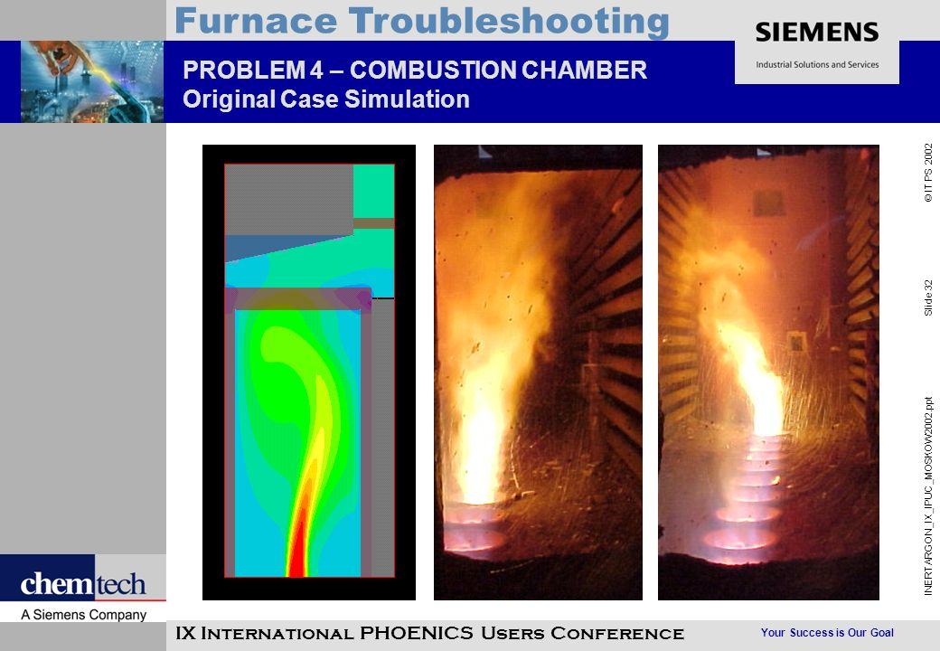 Your Success is Our Goal INERTARGON_IX_IPUC_MOSKOW2002.ppt Slide 32 © IT PS 2002 Furnace Troubleshooting IX International PHOENICS Users Conference PROBLEM 4 – COMBUSTION CHAMBER Original Case Simulation