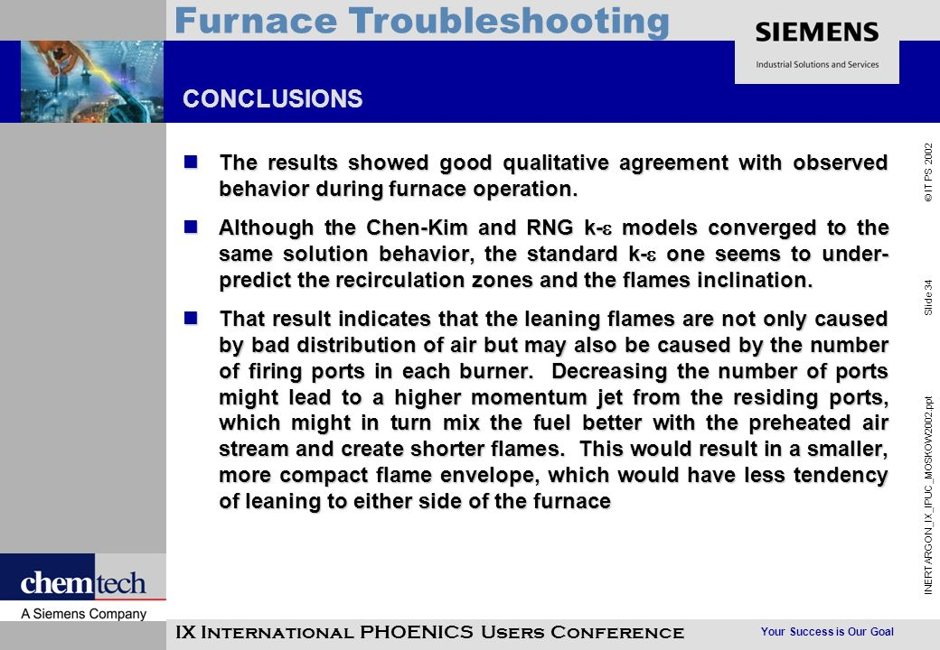 Your Success is Our Goal INERTARGON_IX_IPUC_MOSKOW2002.ppt Slide 34 © IT PS 2002 Furnace Troubleshooting IX International PHOENICS Users Conference CO