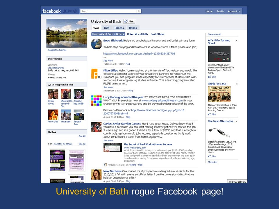 University of Bath rogue Facebook page!