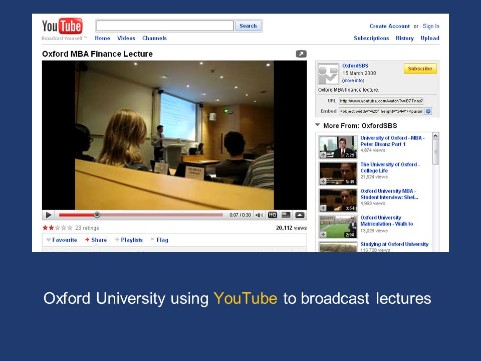 Oxford University using YouTube to broadcast lectures