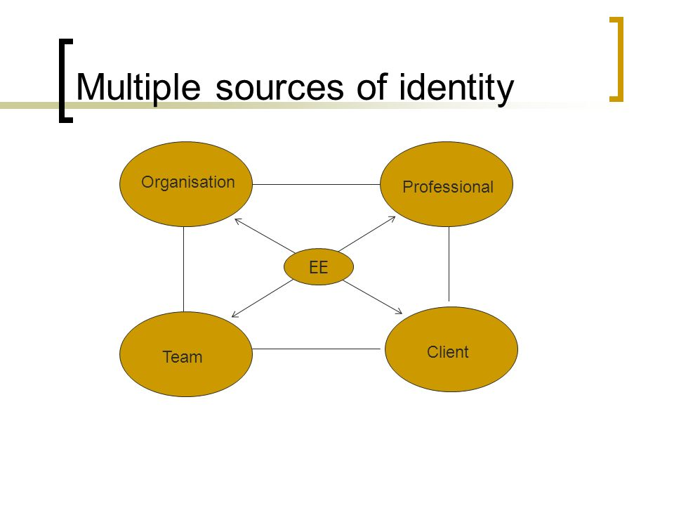 Multiple sources of identity Organisation Client Professional Team EE