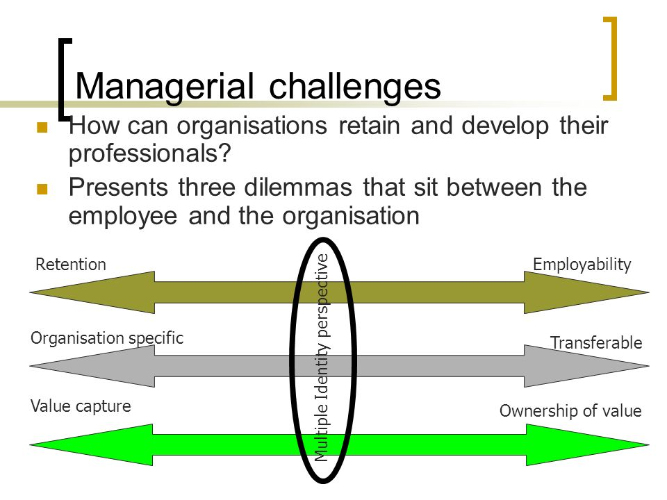 Managerial challenges How can organisations retain and develop their professionals.