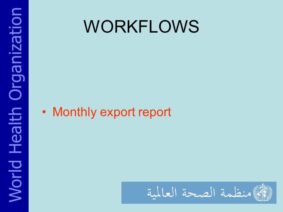 WORKFLOWS Monthly export report