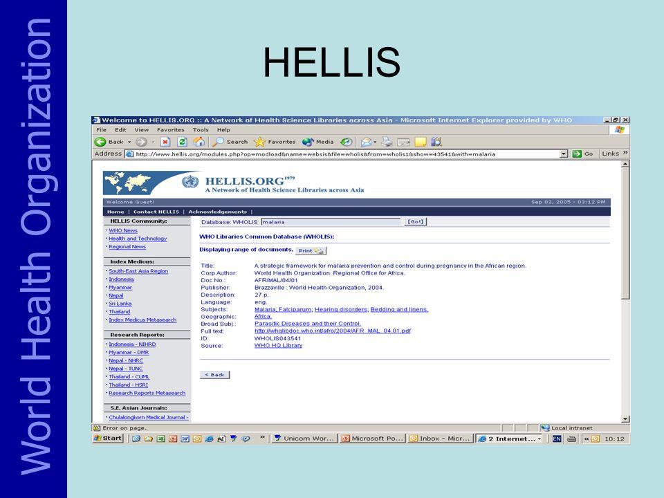 World Health Organization HELLIS