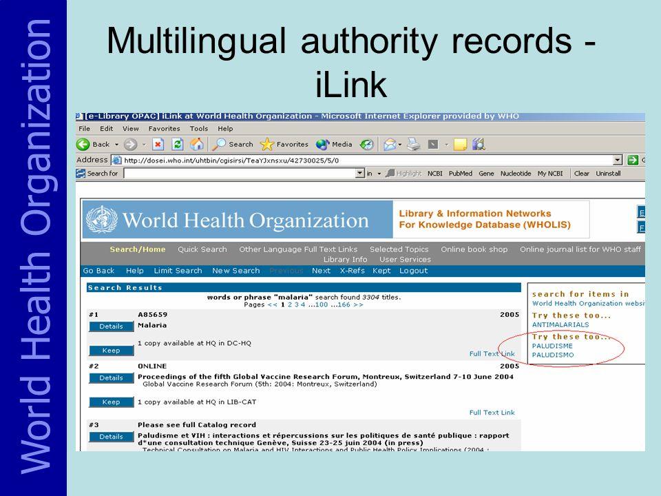 Multilingual authority records - iLink World Health Organization