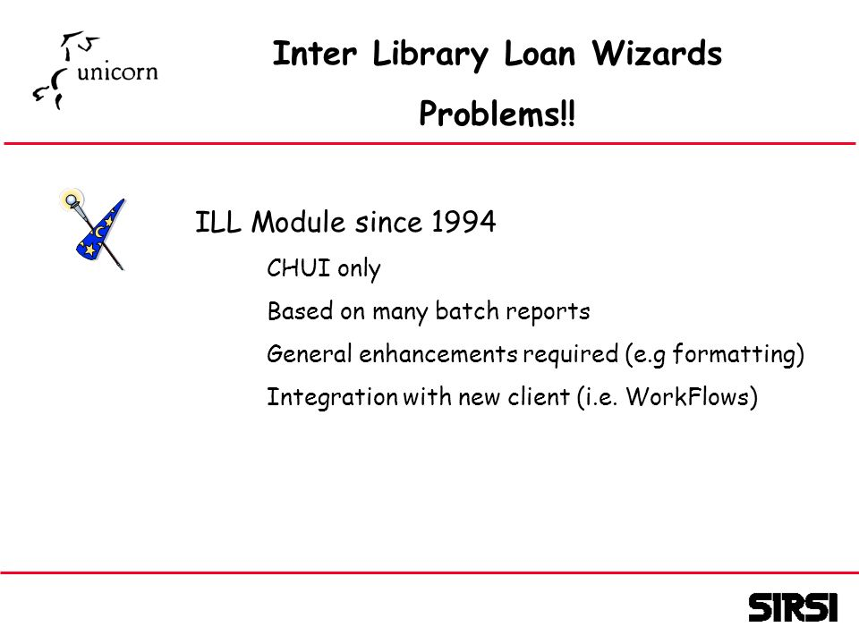 Inter Library Loan Wizards Problems!.