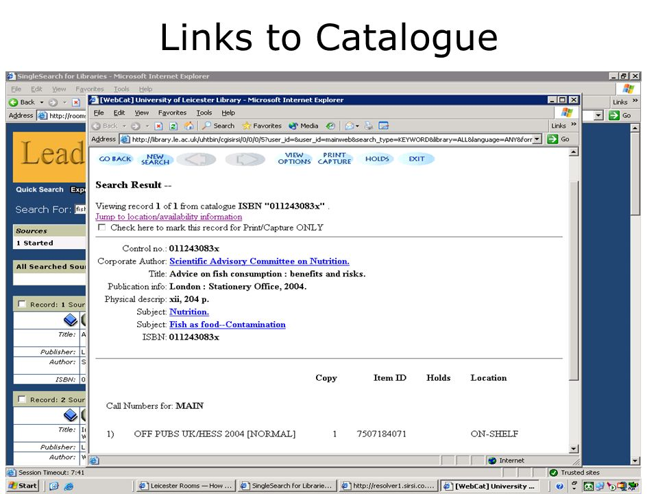 Links to Catalogue