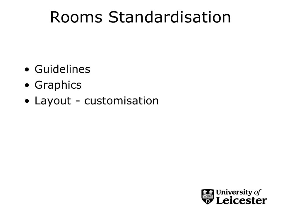 Rooms Standardisation Guidelines Graphics Layout - customisation