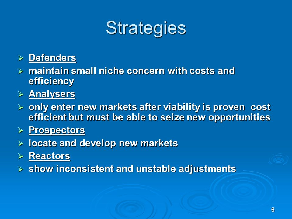 6 Strategies Defenders Defenders maintain small niche concern with costs and efficiency maintain small niche concern with costs and efficiency Analysers Analysers only enter new markets after viability is proven cost efficient but must be able to seize new opportunities only enter new markets after viability is proven cost efficient but must be able to seize new opportunities Prospectors Prospectors locate and develop new markets locate and develop new markets Reactors Reactors show inconsistent and unstable adjustments show inconsistent and unstable adjustments