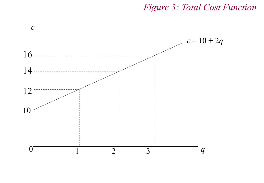 c q 0 c = 10 + 2q 10 1 2 3 16 14 12 Figure 3: Total Cost Function