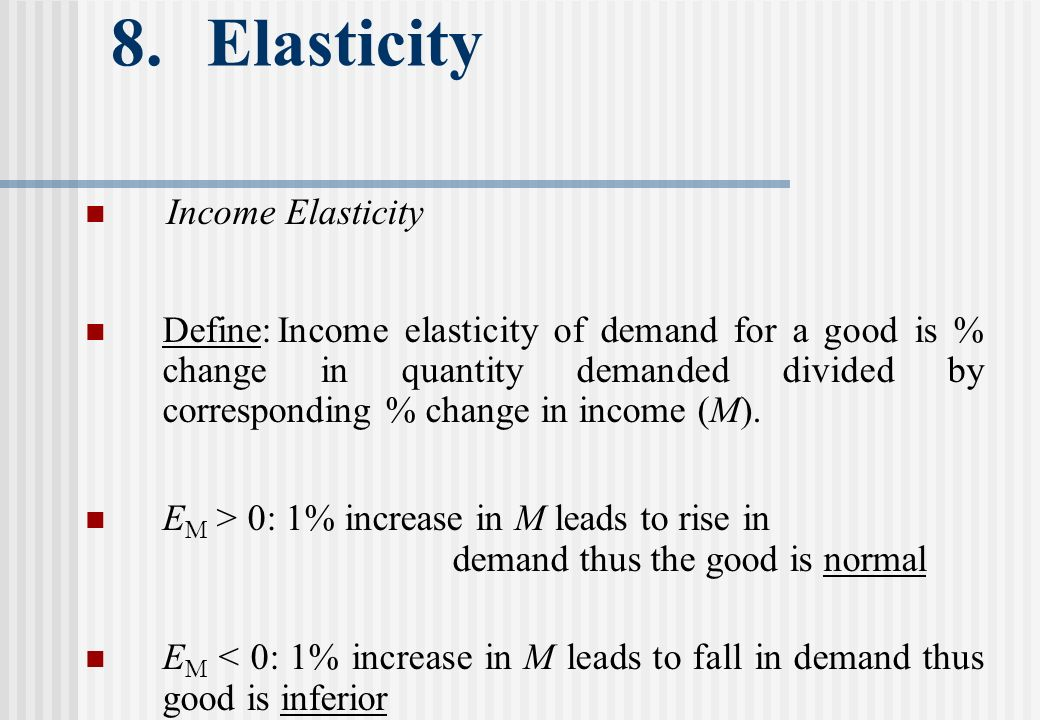 8. Elasticity Income Elasticity Define:Income elasticity of demand for a good is % change in quantity demanded divided by corresponding % change in in