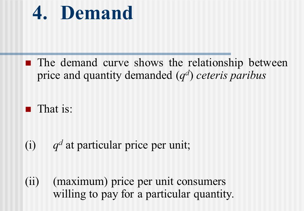 4.Demand The demand curve shows the relationship between price and quantity demanded (q d ) ceteris paribus That is: (i)q d at particular price per unit; (ii)(maximum) price per unit consumers willing to pay for a particular quantity.