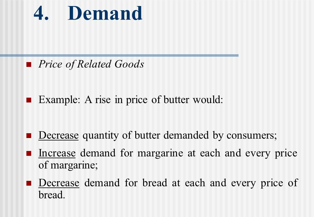 4. Demand Price of Related Goods Example: A rise in price of butter would: Decrease quantity of butter demanded by consumers; Increase demand for marg