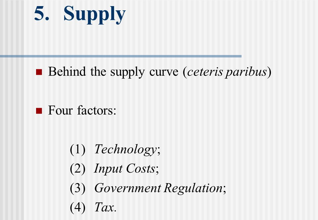 5.Supply Behind the supply curve (ceteris paribus) Four factors: (1)Technology; (2)Input Costs; (3)Government Regulation; (4)Tax.