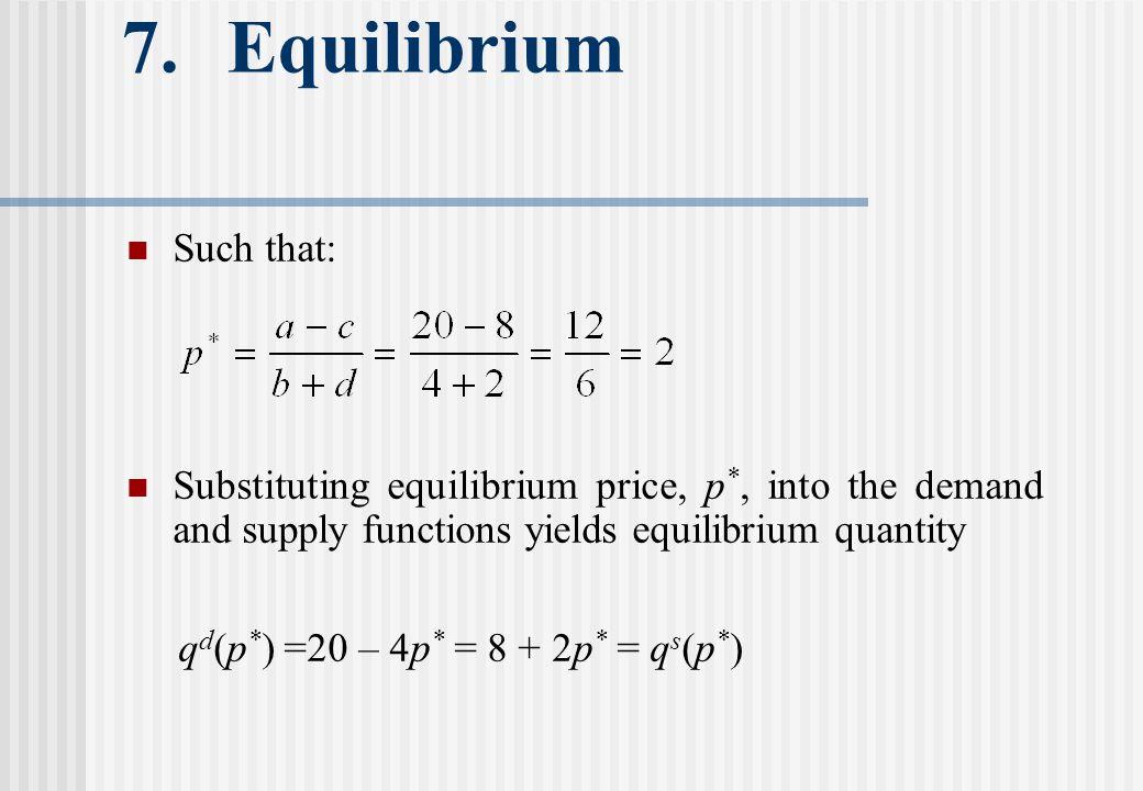 7. Equilibrium Such that: Substituting equilibrium price, p *, into the demand and supply functions yields equilibrium quantity q d (p * ) =20 – 4p *