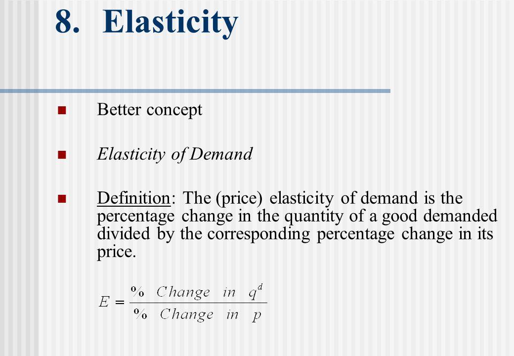8. Elasticity Better concept Elasticity of Demand Definition: The (price) elasticity of demand is the percentage change in the quantity of a good dema