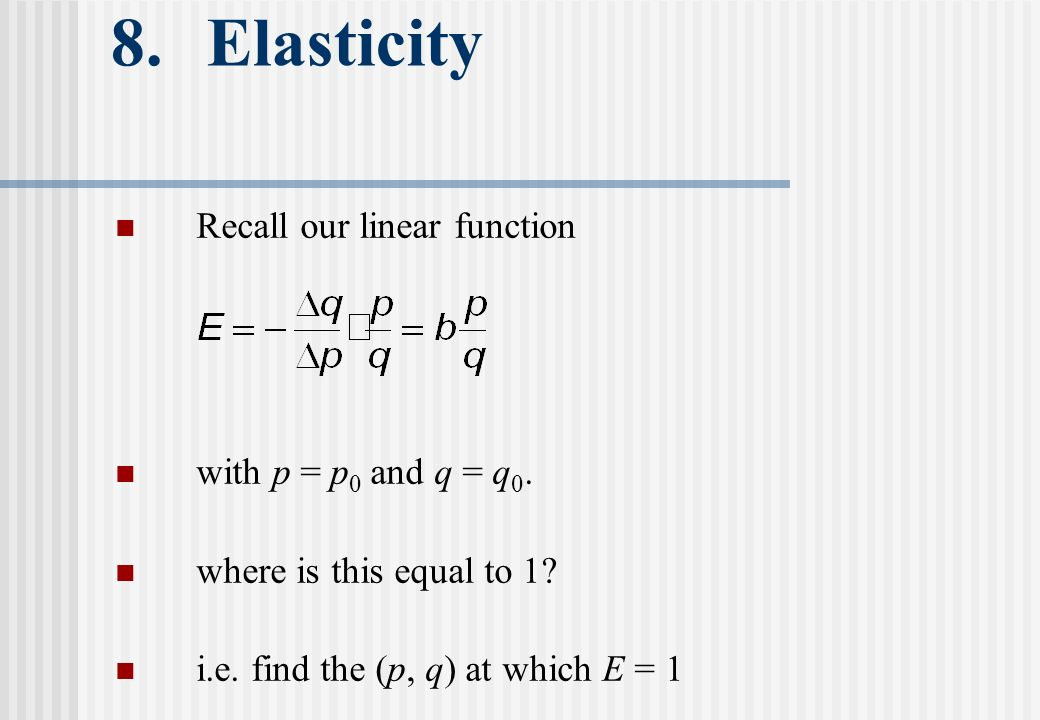 8. Elasticity Recall our linear function with p = p 0 and q = q 0.