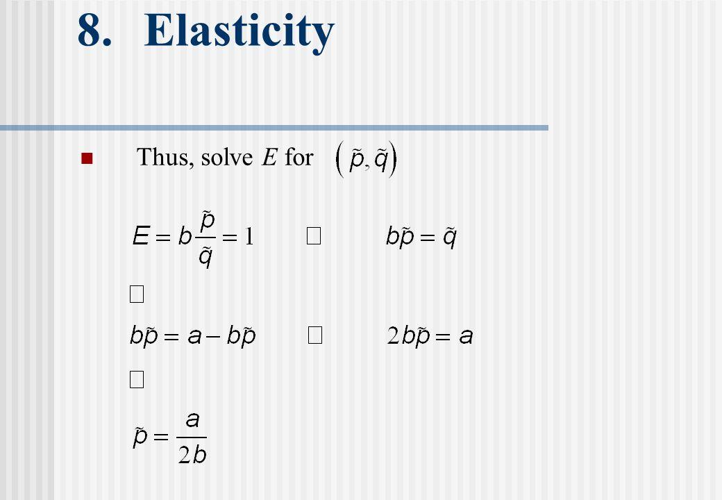 8. Elasticity Thus, solve E for