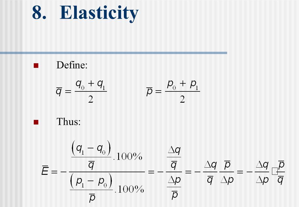 8. Elasticity Define: Thus: