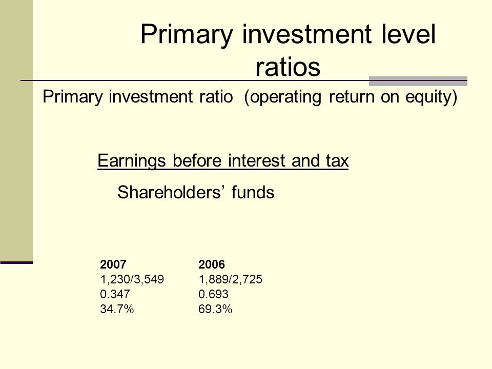 Primary investment level ratios Primary investment ratio (operating return on equity) Earnings before interest and tax Shareholders funds 20072006 1,230/3,5491,889/2,725 0.3470.693 34.7%69.3%
