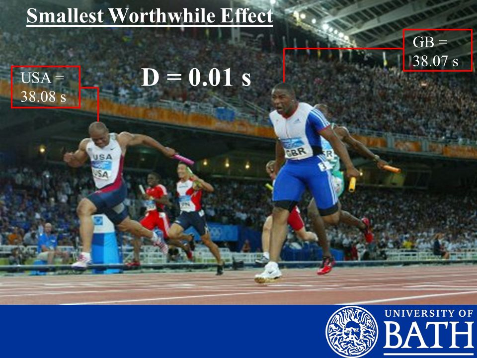 GB = 38.07 s USA = 38.08 s Smallest Worthwhile Effect D = 0.01 s