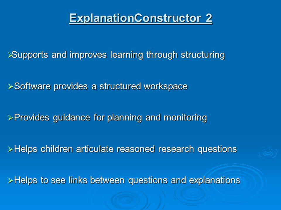 Supports and improves learning through structuring Supports and improves learning through structuring Software provides a structured workspace Softwar