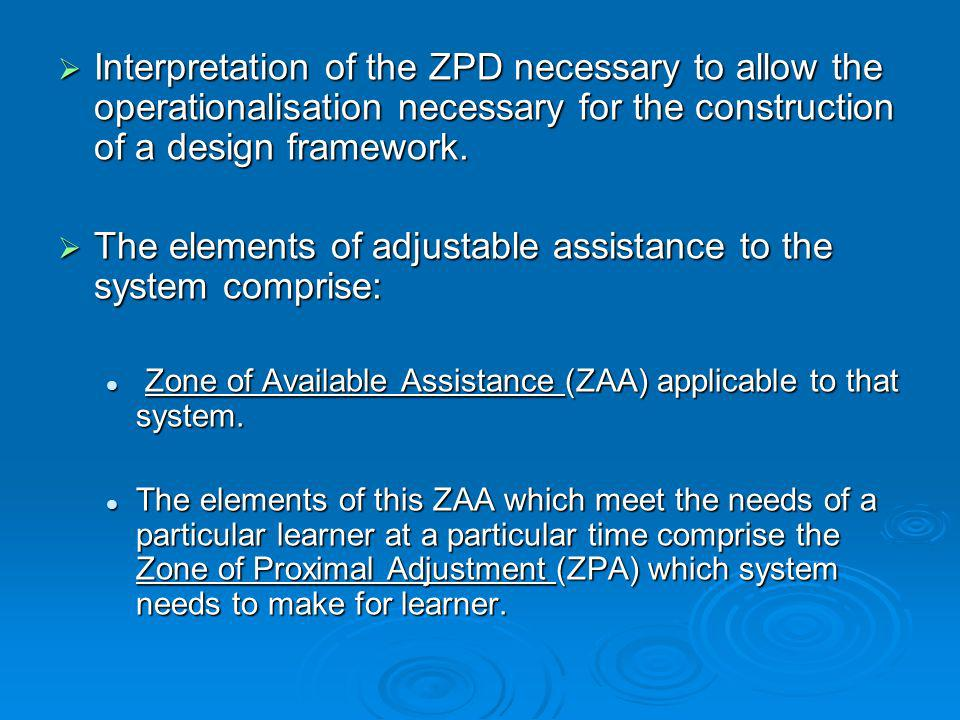 Interpretation of the ZPD necessary to allow the operationalisation necessary for the construction of a design framework. Interpretation of the ZPD ne