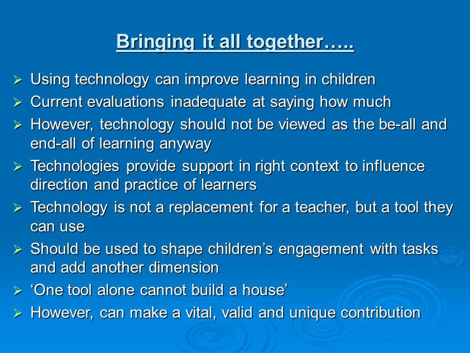 Bringing it all together….. Using technology can improve learning in children Using technology can improve learning in children Current evaluations in