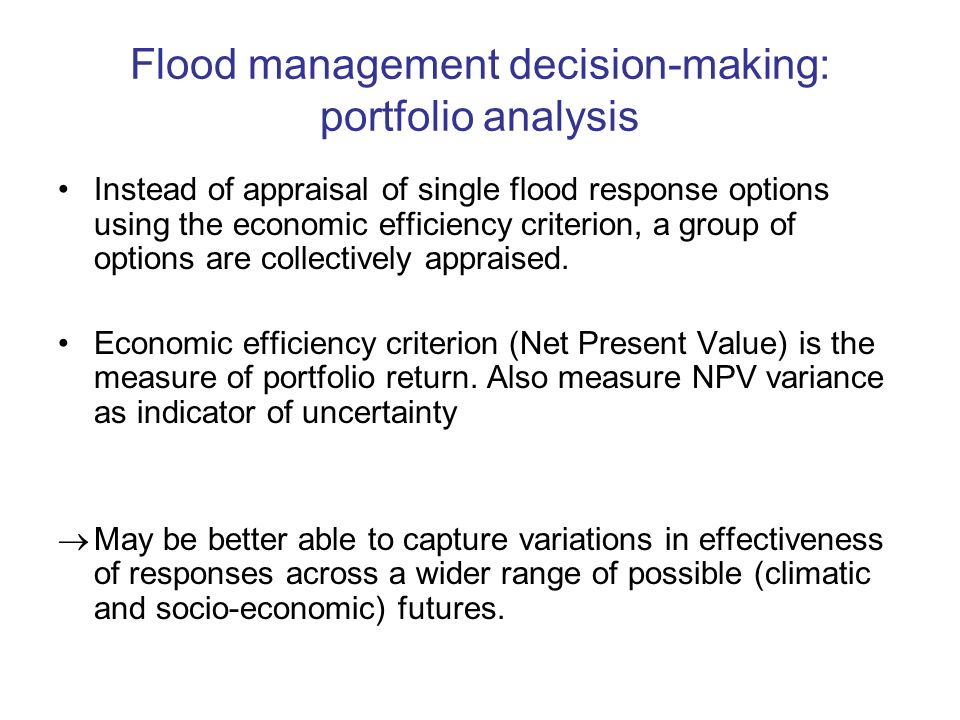 Flood management decision-making: portfolio analysis Instead of appraisal of single flood response options using the economic efficiency criterion, a