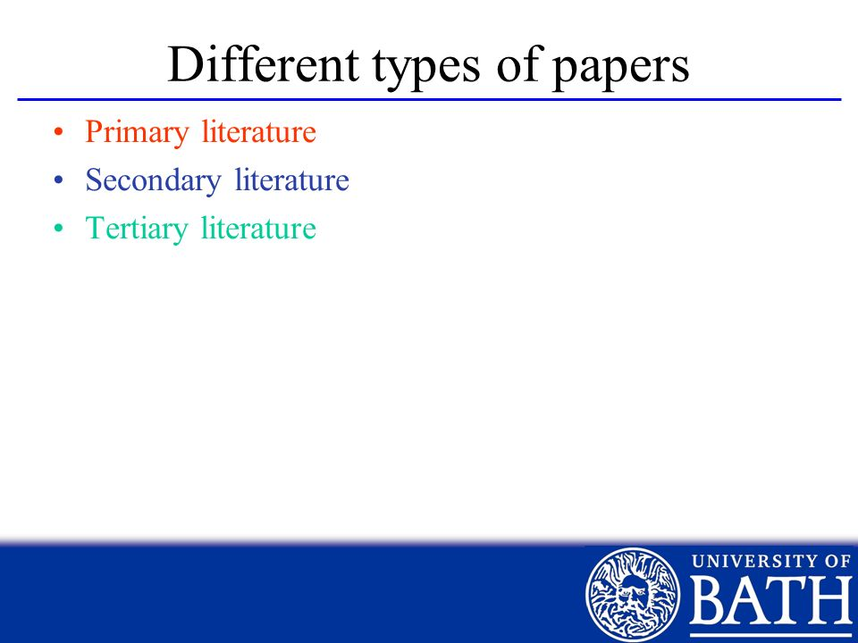 Different types of papers Primary literature Secondary literature Tertiary literature