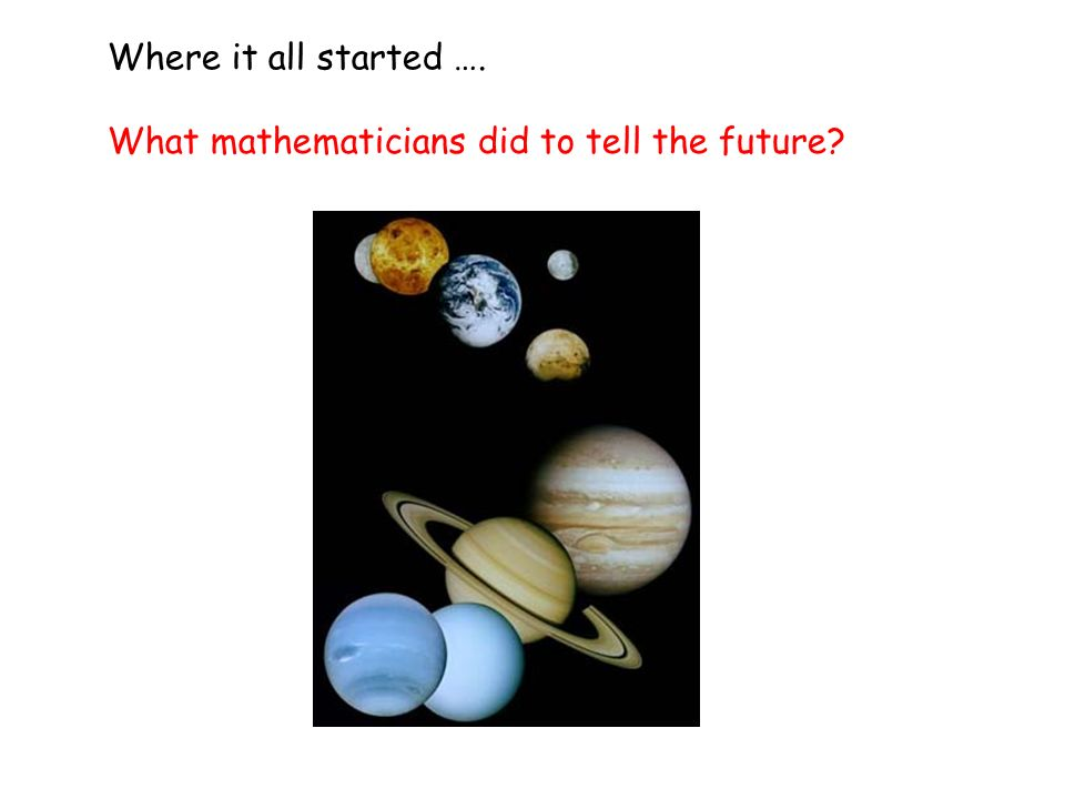 What mathematicians did to tell the future Where it all started ….