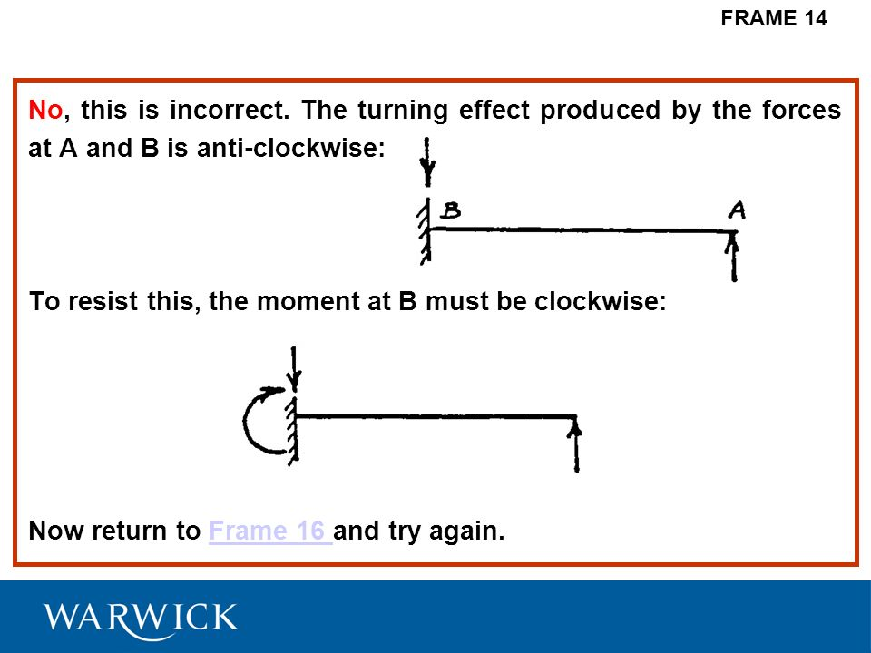 No, this is incorrect. The turning effect produced by the forces at A and B is anti-clockwise: To resist this, the moment at B must be clockwise: Now