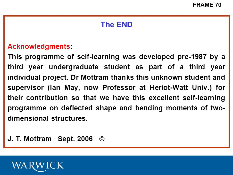 The END Acknowledgments: This programme of self-learning was developed pre-1987 by a third year undergraduate student as part of a third year individu
