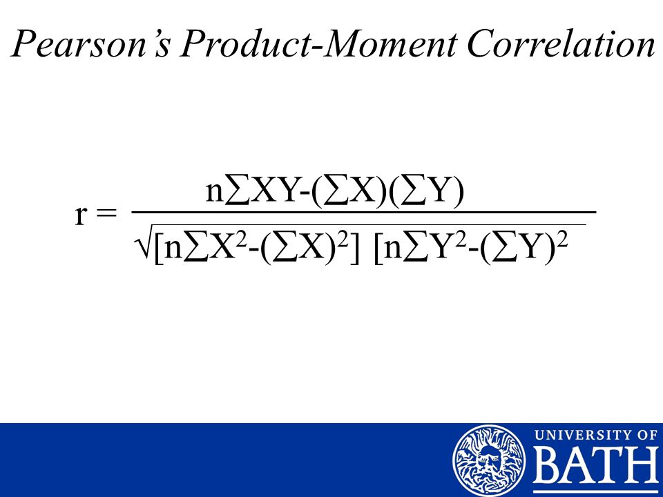 r = n XY-( X)( Y) [n X 2 -( X) 2 ] [n Y 2 -( Y) 2 Pearsons Product-Moment Correlation