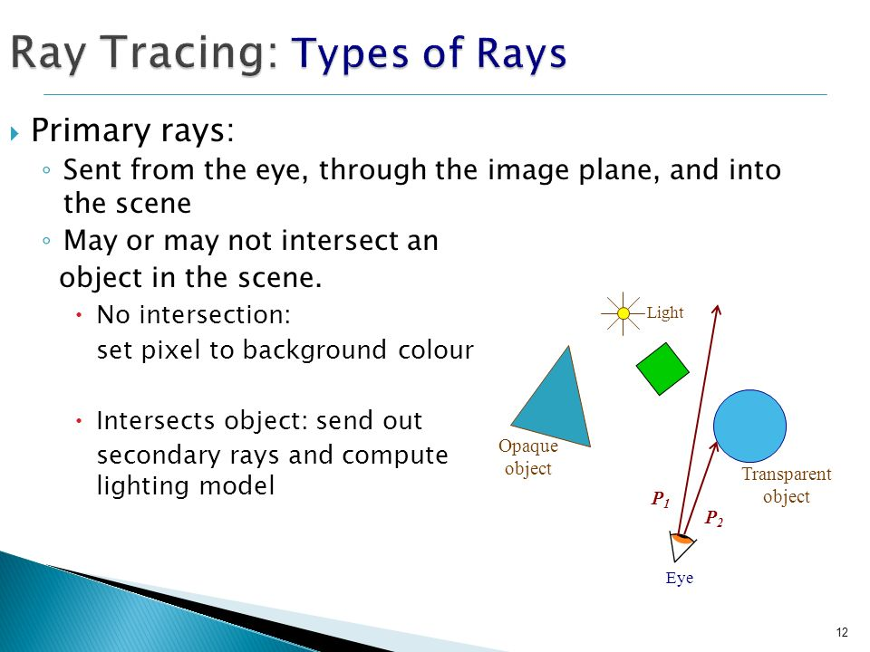 12 Ray Tracing: Types of Rays Primary rays: Sent from the eye, through the image plane, and into the scene May or may not intersect an object in the s