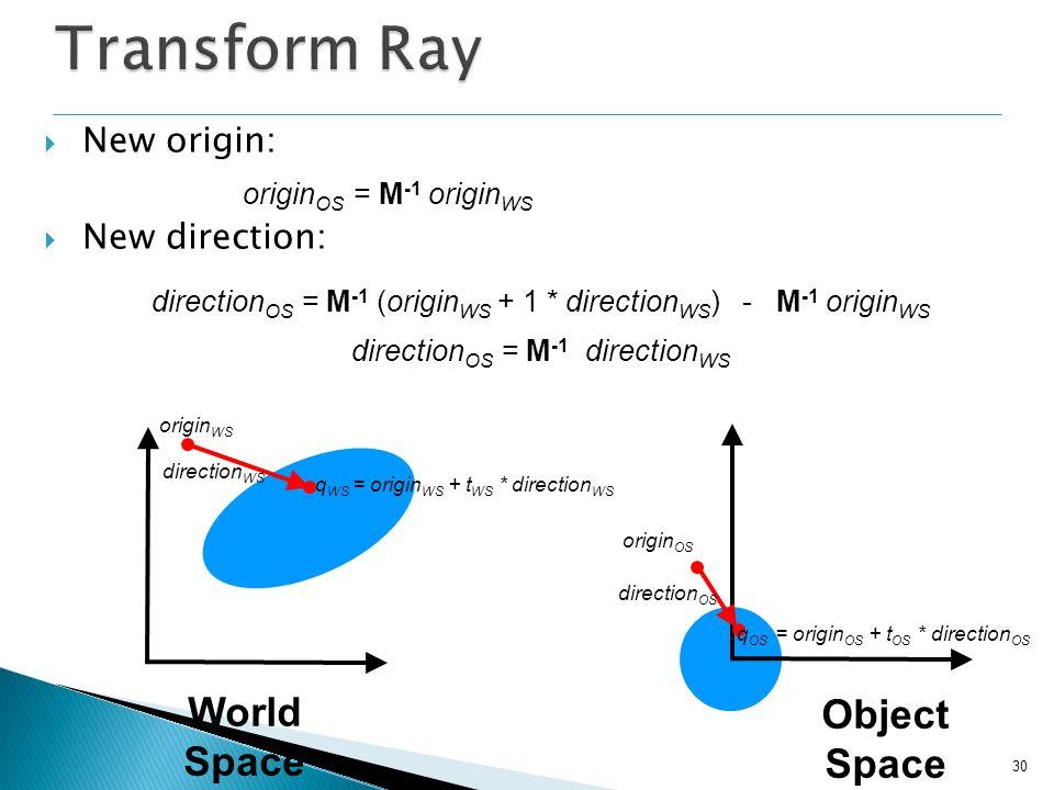 30 New origin: New direction: origin OS = M -1 origin WS direction OS = M -1 (origin WS + 1 * direction WS ) - M -1 origin WS origin OS origin WS dire