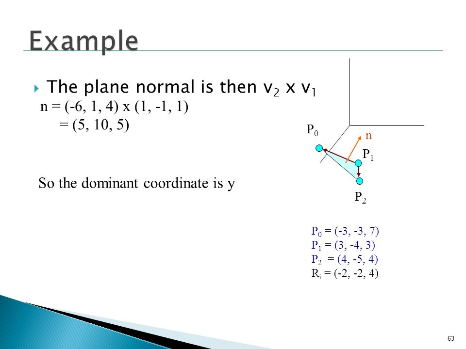 63 The plane normal is then v 2 x v 1 n = (-6, 1, 4) x (1, -1, 1) = (5, 10, 5) So the dominant coordinate is y P0P0 P1P1 P2P2 P 0 = (-3, -3, 7) P 1 =