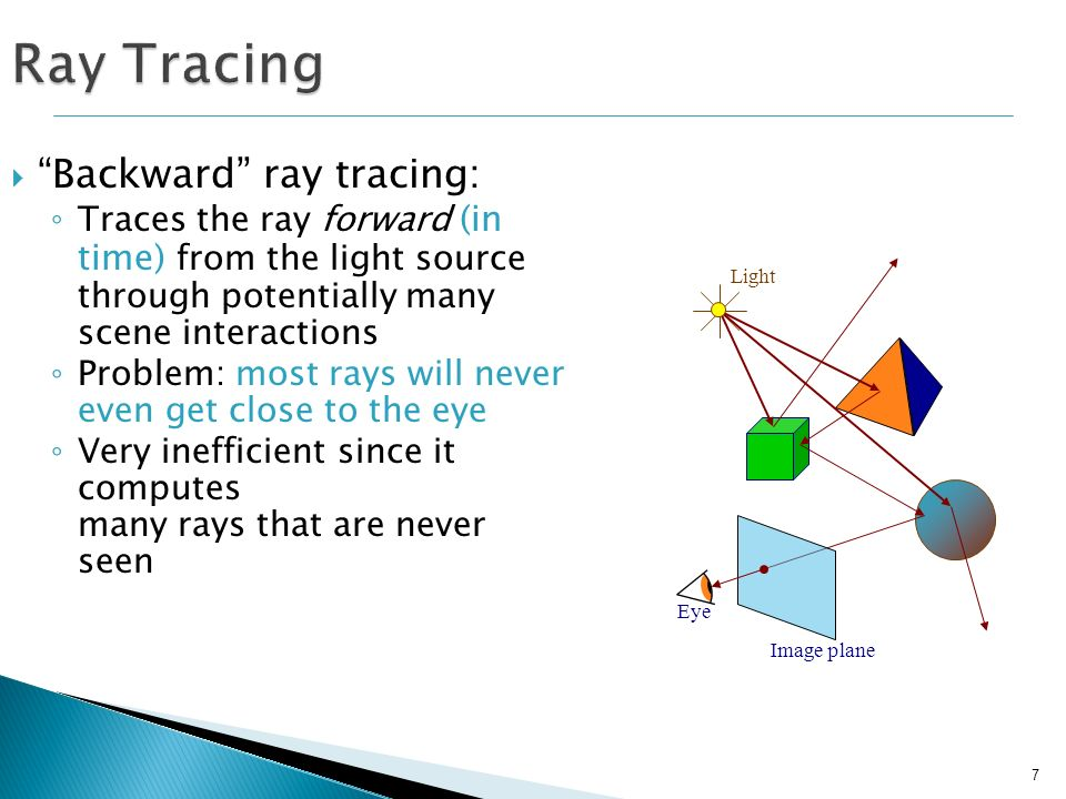 8 Ray Tracing Forward ray tracing: Traces the ray backward (in time) from the eye, through a point on the screen More efficient: computes only visible rays (since we start at eye) Generally, ray tracing refers to forward ray tracing.