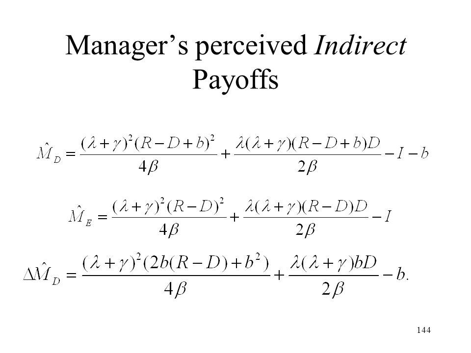 144 Managers perceived Indirect Payoffs