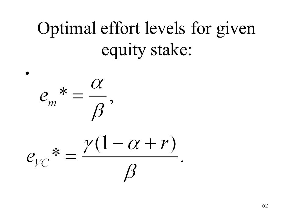 62 Optimal effort levels for given equity stake: