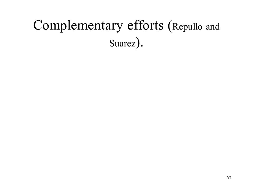 67 Complementary efforts ( Repullo and Suarez ).
