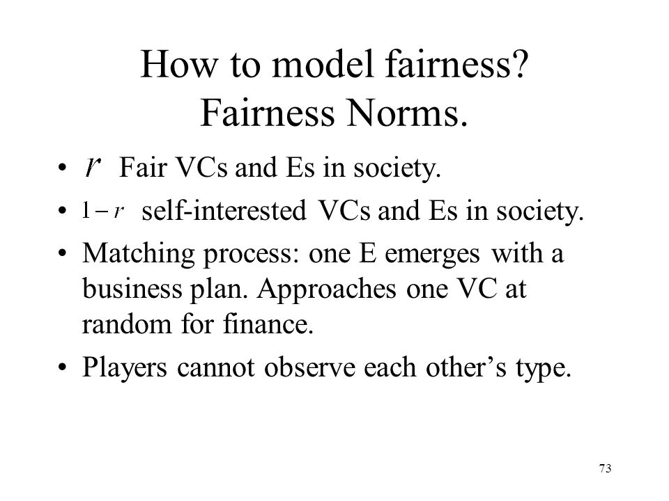 73 How to model fairness. Fairness Norms. Fair VCs and Es in society.