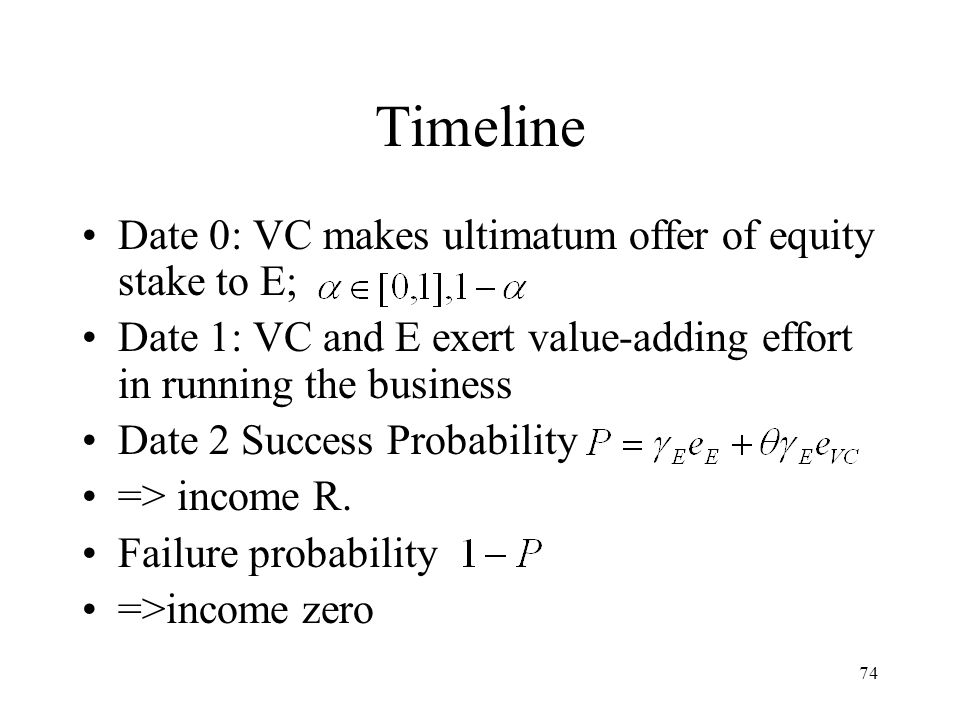 74 Timeline Date 0: VC makes ultimatum offer of equity stake to E; Date 1: VC and E exert value-adding effort in running the business Date 2 Success Probability => income R.
