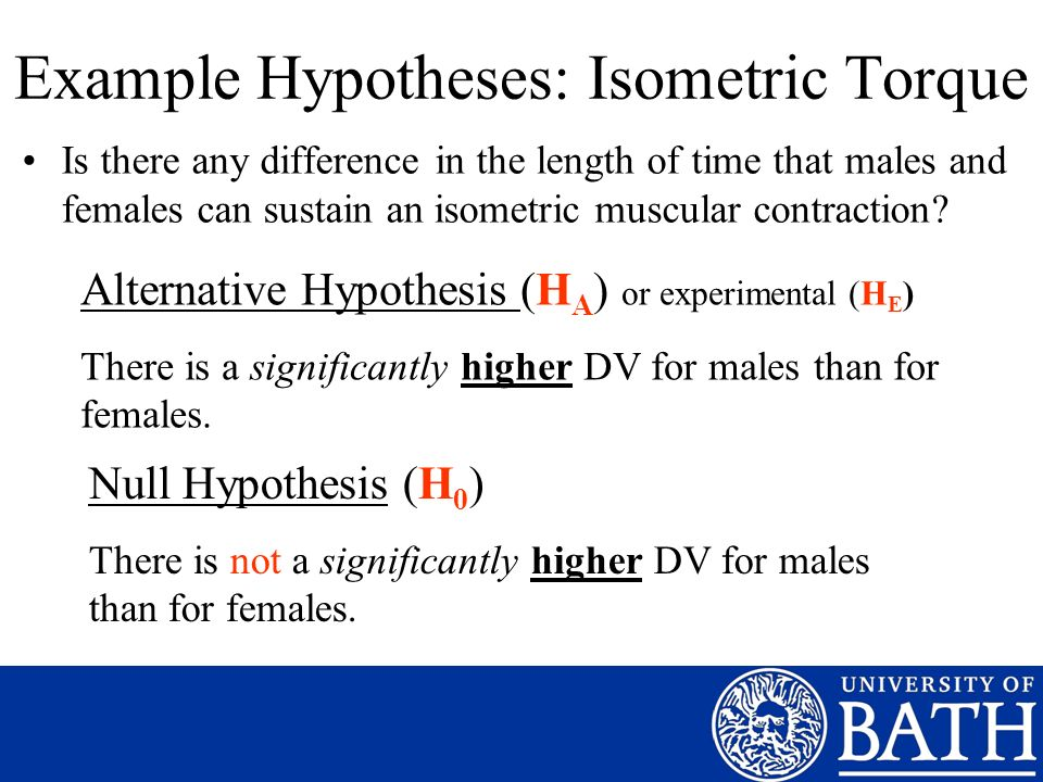 Example Hypotheses: Isometric Torque Is there any difference in the length of time that males and females can sustain an isometric muscular contractio