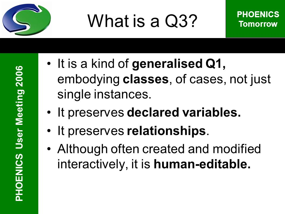 PHOENICS User Meeting 2006 PHOENICS Tomorrow What is a Q3.