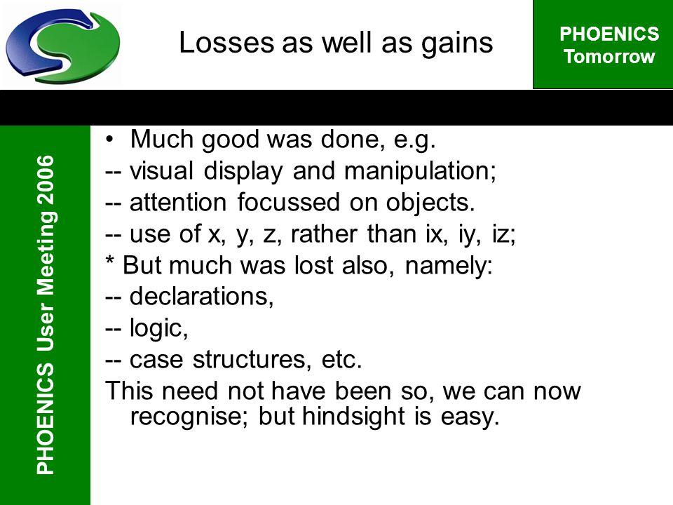 PHOENICS User Meeting 2006 PHOENICS Tomorrow Losses as well as gains Much good was done, e.g.